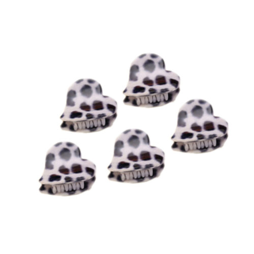 [Set Of 5] Fashion Cute Leopard Mini Fringe Clip Hair Styling Claws, WHITE HEART