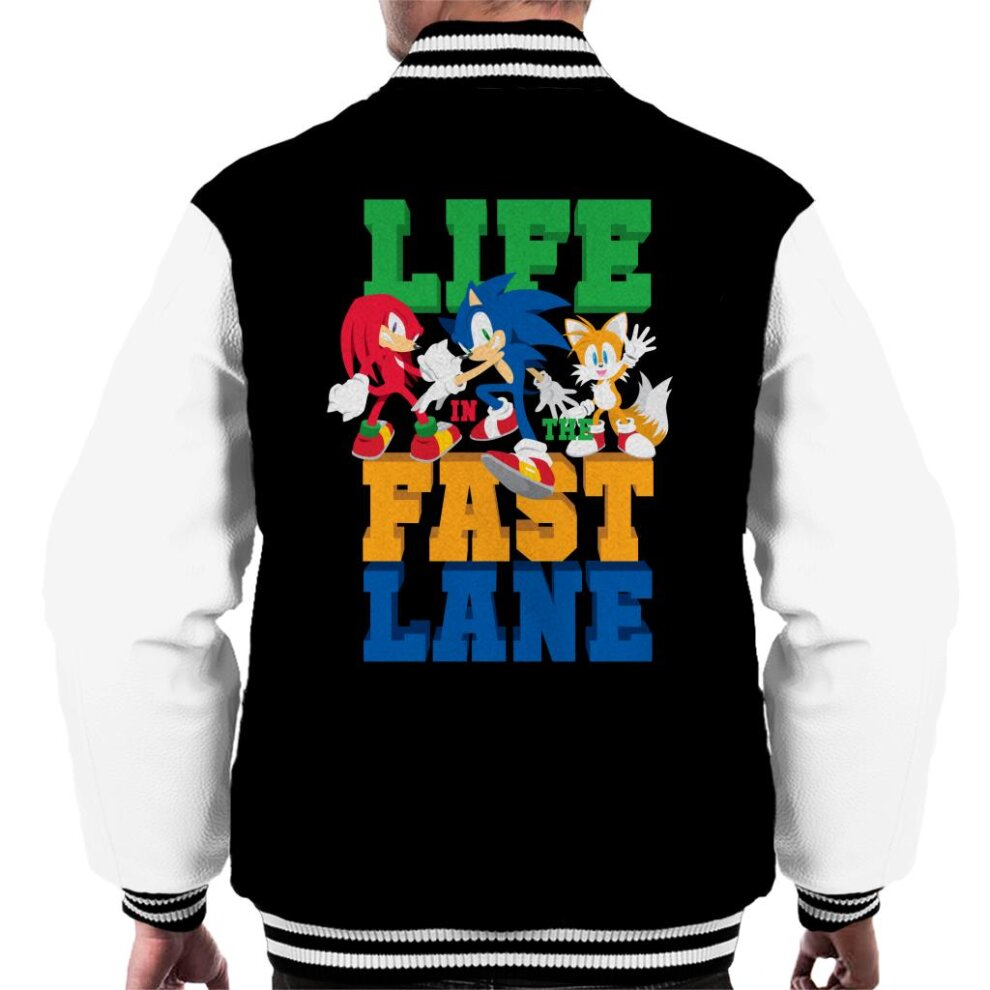 Sonic The Hedgehog Life In The Fast Lane Men S Varsity Jacket On Onbuy
