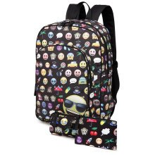 KONO 3pcs Canvas Backpack Unisex Emoticon School Bag