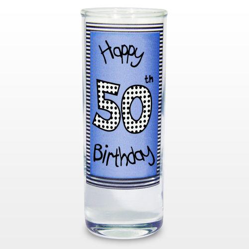 Blue 50th Happy Birthday Shot Glass