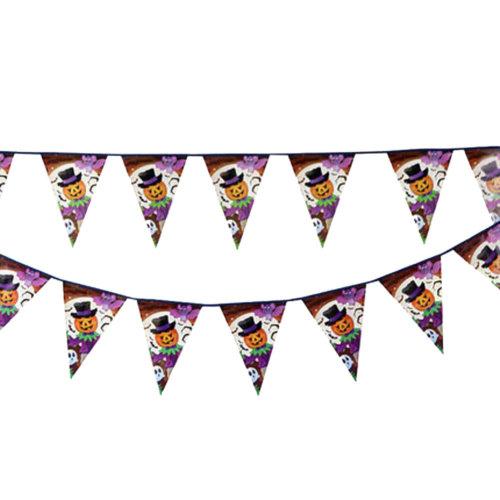 2PCS Halloween Pumpkin Triangle Flag Creative House Party Decor 22CM