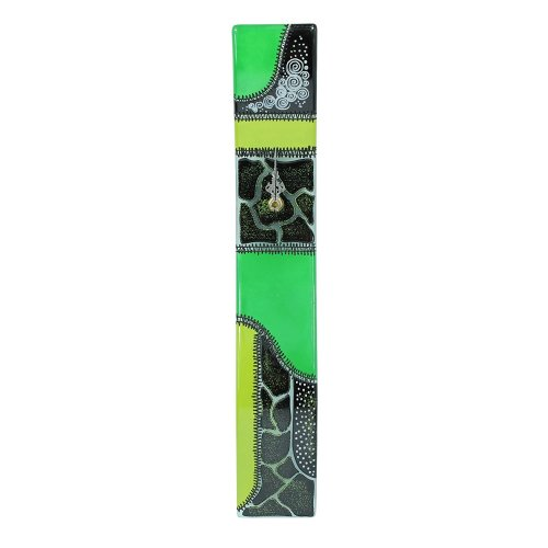 Home Decoration Hand Painted Black/Green Thermoformed Glass Wall Clock