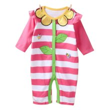 Baby Suit Baby Clothing Long-Sleeved Cotton Baby Crawl Sports Clothing Pink E