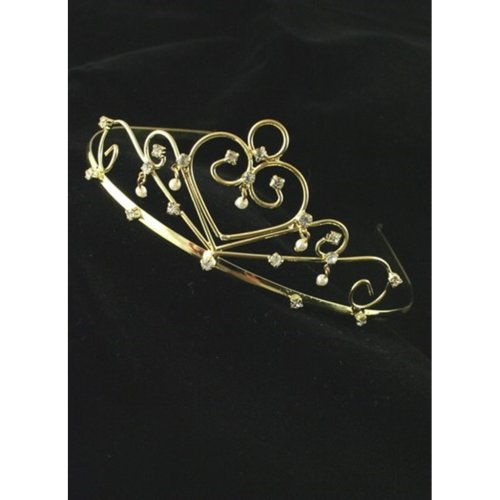 Gold-Gilt With Crystal And Pearl Decoration Wedding Tiara