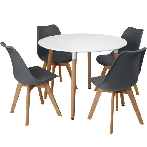 Fantastic Circular Dining Table Set Four 4 Dinner Kitchen Chairs White Solid Beech Wood Frankydiablos Diy Chair Ideas Frankydiabloscom