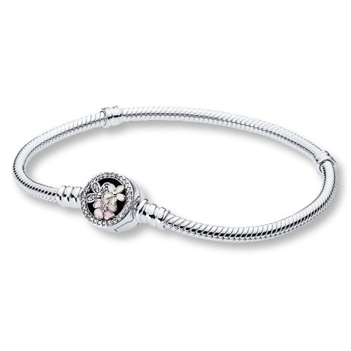 Pandora Moments Silver Bracelet with Poetic Blooms Clasp - 18 cm - 590744CZ-18