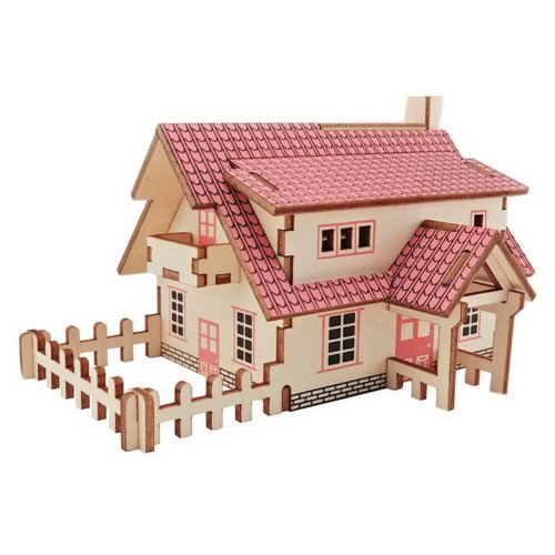 Children's Wooden Puzzle Stereo 3D Simulation Toy Model Western Cottage (20 Pcs)