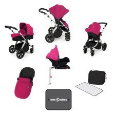 Ickle Bubba Stomp V3 All-in-1 Travel System & Isofix Base - Pink/silver