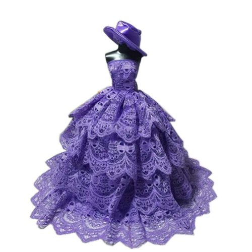 High-end Handmade Wedding Costume Luxurious Party Gown Dresses Princess Clothes for Dolls, Purple