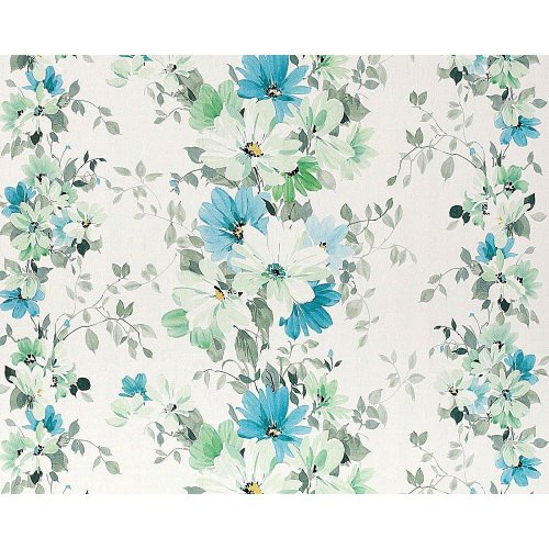 EDEM 907-04 floral wallpaper non-woven flowers white green turquoise   10.65 sqm