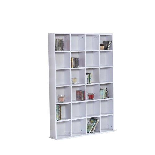 Homcom Dvd Cd Media Storage Wood Shelf Shelving Display Unit