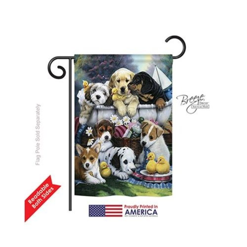 Breeze Decor 60046 Pets Bath Time Puppies 2-Sided Impression Garden Flag - 13 x 18.5 in.