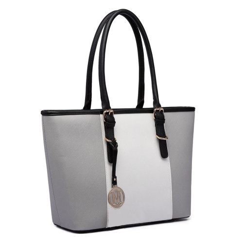 Miss Lulu Women Handbag Stripe Shoulder Bag PU Leather Tote Grey
