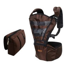 Double Shoulder Baby Carrier Hip Seat Carrier/Backpack With Waist Bag Brown