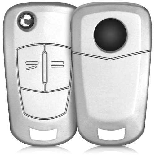 kwmobile Opel Vauxhall Car Key Cover - Silicone Protective Key Fob Cover for Opel Vauxhall 2 Button Car Flip Key - Metallic Silver