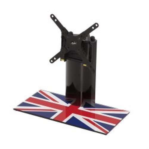 """King Table Top Base Pedestal Stand with Universal Bracket and Union Jack United Kingdom UK Great Britain Flag by TV Furniture Direct (12"""" - 32"""")"""