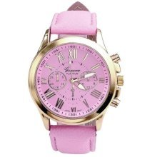 Geneva Platinum Rose Gold Watch Roman Numerals Pink Faux Leather Strap