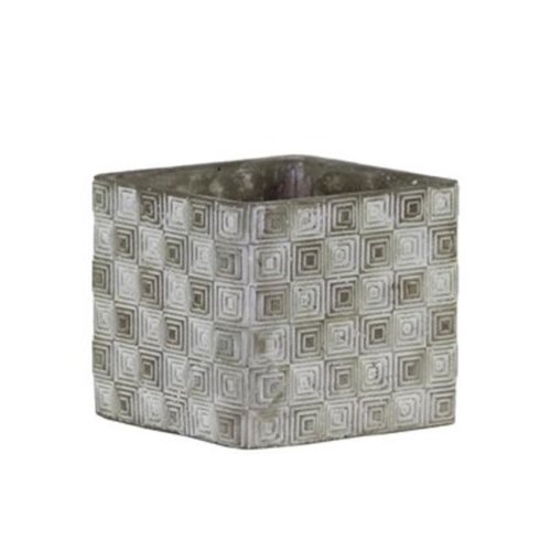 Urban Trends Collection 51501 Cement Short Square Pot with Embossed Rectangle Design Body, Gray - Small