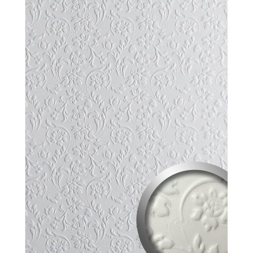 WallFace 13473 FLORAL Wall panel leather decor wallcovering white | 2.60 sqm