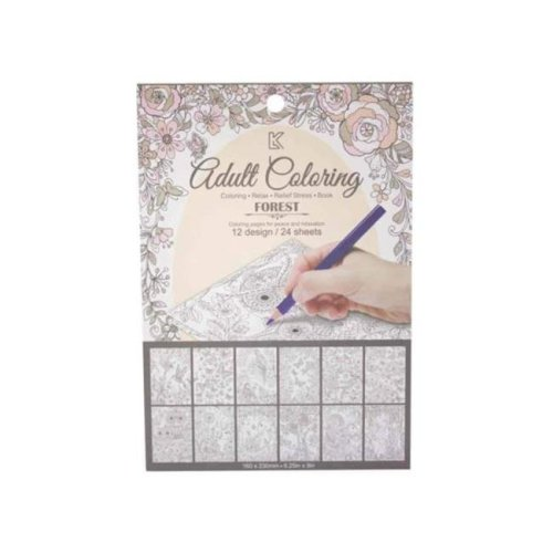 Kole Imports KL561-72 Garden Theme Adult Coloring Notecard Book - Pack of 72