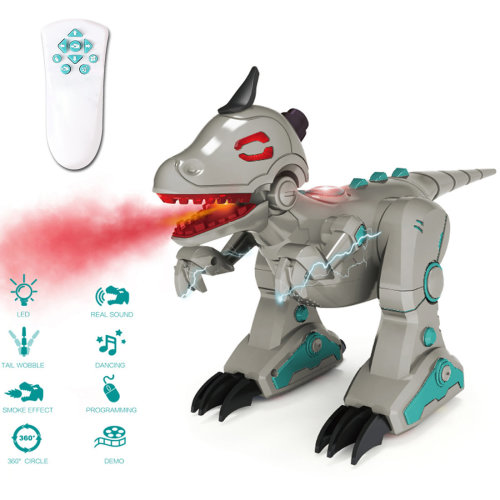 deAO RC Intelligent Dinosaur Robot with Smoke Efect Lights and Sounds Infrared Remote Control Electronic T-Rex Toy (Grey)