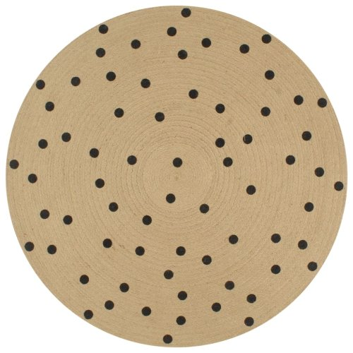 vidaXL Handmade Rug Jute with Print Polka Dot 90cm Room Floor Protector Carpet