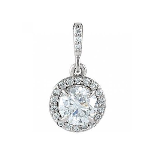 White Gold 14K  Prong Setting Round Cut 3.10 Carats Diamonds Pendant Necklace With Chain
