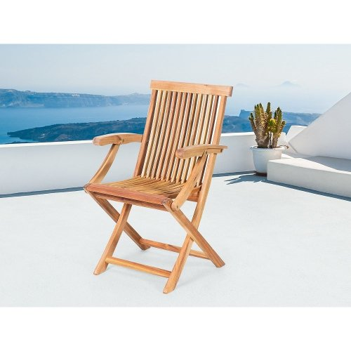 Beliani JAVA Foldable Outdoor Chair | Folding Wooden Garden Chair