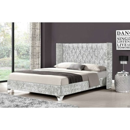 Elizabeth Wingback Bed Frame | Crushed Velvet Bed