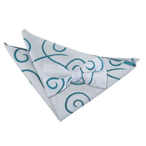 Silver & Teal Scroll Bow Tie & Pocket Square Set