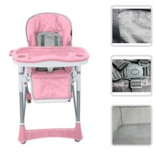 Todeco - Baby High Chair, Baby Foldable Chair - Deployed size: 105 x 75 x 60 cm - Material: PP - Pink