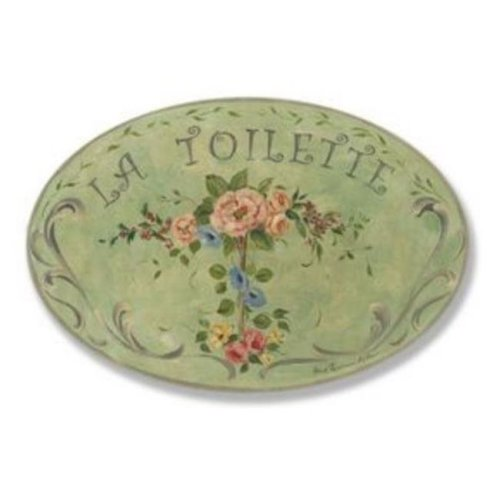 Stupell Industries WRP-223 La Toilette Green Floral Oval Wall Plaque