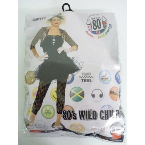 Large Black 80's Ladies Wild Child Costume -  costume 80s wild child fancy dress ladies womens 1980s madonna pop outfit star adult smiffys