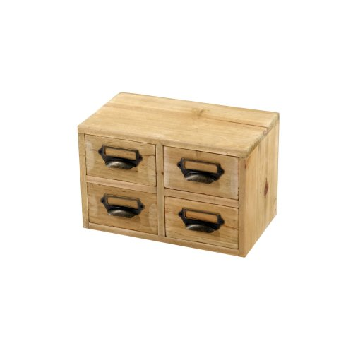 Wooden Storage 4 Drawers Shabby Chic Home Office Filing Organiser