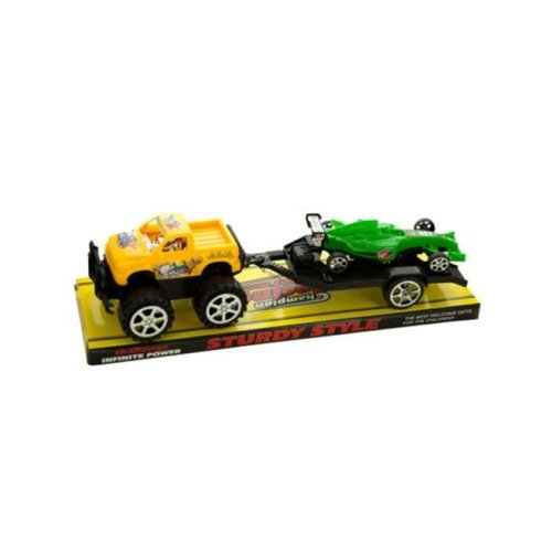 Kole Imports KL255-16 12.5 x 3.5 in. Friction Off Road Trailer Truck with Race Car, Pack of 16