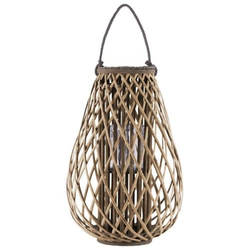 Urban Trends Collection 55042 Bamboo Round Bellied Lantern with Braided Rope Lip - Handle, Natural & Brown - Extra Large
