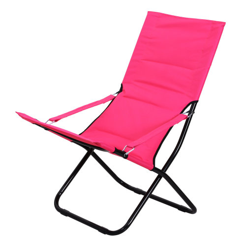 Outsunny Folding Camping Chair Beach Festival Outdoor Travel Fishing Oxford Fabric Padded Seat Pink