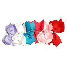 ICB - 6 Large Grosgrain Ribbon Hair Bows with Diamante Strip - 15cm