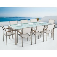 Garden Table and Chairs - Dining Set - 8 Seater - Cracked Ice Glass - White Chairs - GROSSETO