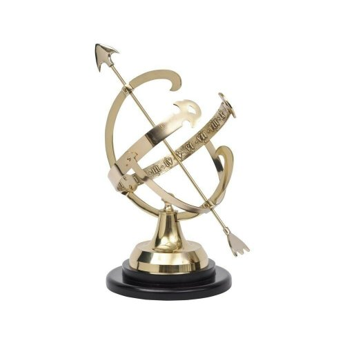 Libra Brass Armillary with Stepped Base Celestrial Orbit Sky Arrow Ornament