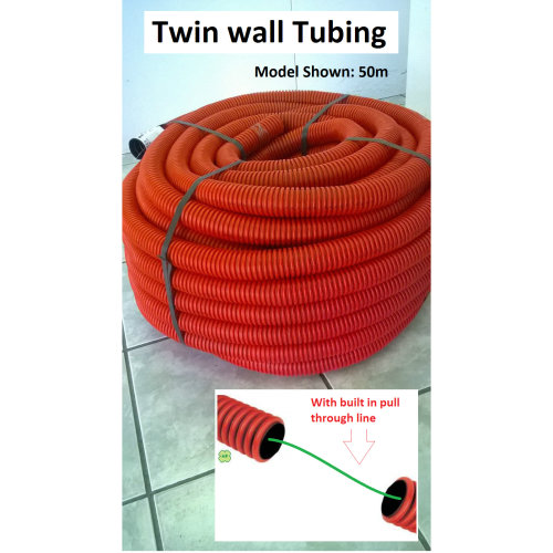 Flexible Corrugated Tubing - 25 Meter Roll -Twin Wall - Trunking Conduit 40mm OD