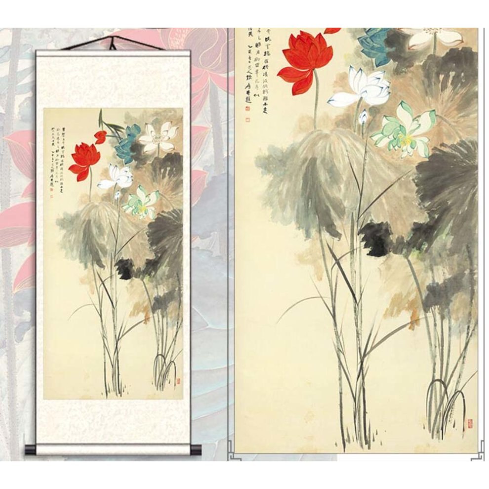 846b894a8 ... 22 Chinese Scroll Painting Home Decor Silk Scroll Hanging Art Lotus  Flower, 22 - 1. >