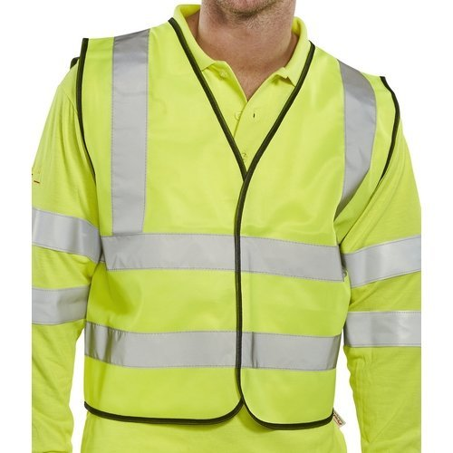 Click WCENGSHXXL Hi Vis Yellow Short Waist Coat Vest With Reflective Stripes EN471 Class 1 XXL