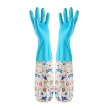 2 Pairs Rubber Cleaning Gloves with Lining Long Dishwashing Gloves, Cartoon