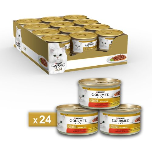 Gourmet Gold Casserole for the Cat, with Beef and Chicken in Salsa with Tomato, 85g–Pack of 24