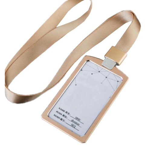 Aluminum Alloy Vertical Style ID Card Badge Holder with Neck Lanyard Strap 3PCS, 28