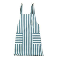 Japanese Style Cotton & linen Simple Cloth with Pocket Unisex Cooking stripe Aprons,blue,