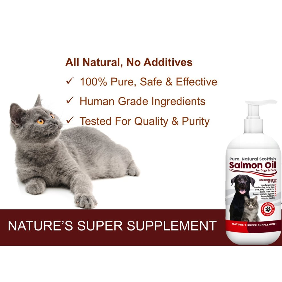 100% Pure, Natural Scottish Salmon Oil For Dogs, Cats, Horses and Pets   Omega 3, 6 & 9 Supplement For Skin, Coat, Joint, Heart & Brain Health