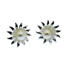 Pearl Earrings Freshwater Pearl Sunflower Halo Studs Sterling Silver
