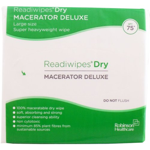 Readiwipes Dry - Macerator Deluxe, Large Pack of 75